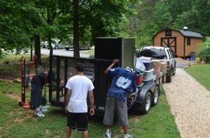 Loading the trailer