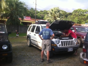 Michael Mora repairing my 2006 diesel Jeep Liberty on New Year's Day.